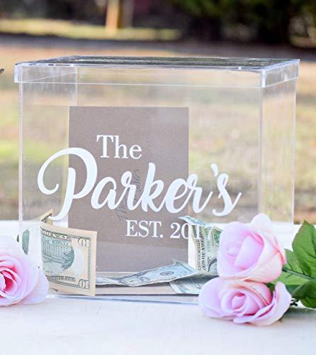 (Clear Card Box - Wedding Card Box - Personalized Card Box - Wedding Keepsake Box - Acrylic Card Box - Wedding Card Box with Slot - Card Box for)