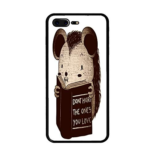 The Mass iPhone 7/8 Plus Case,Tempered Glass Back and Shockproof Bumper Cover for iPhone 7/8 Plus (Hedgehog Book Don't Hurt The Ones You -