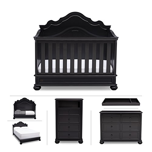 Nursery Furniture Set with Convertible Crib, Dresser, Chest, Changing Top, Toddler and Full Size Conversions – 6 piece Simmons Peyton Collection, Black (Wood Dresser Drawer Finish Six)