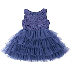Jup'Elle Baby Girl Dresses Extra Soft Crochet Lace Ruffles Pageant Wedding Party Flower Girl Royal Blue Dresses 3-6months