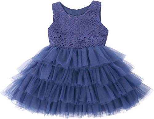 Jup'Elle Baby Girl Dresses Extra Soft Crochet Lace Ruffles Pageant Wedding Party Flower Girl Royal Blue Dresses 6-12months -