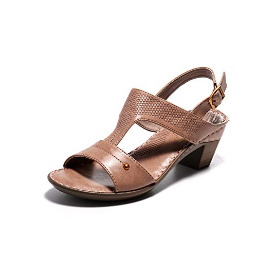 Alexis Leroy Women's Adjustable Buckle Open Toe Slingback T-Strap Block Heel Sandals Beige 7-7.5 M US