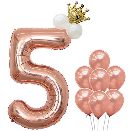 (40Inch Rose Gold Number 5 Balloon - 5th Birthday Party Decorations | Rose Gold Party Supplies for Engagement, Anniversary, Baby Shower Wedding with Crown Balloons and Rose Gold Latex Balloons)