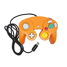 Bowink Ngc Classic Wired Shock Joypad Game Stick Pad Controller for Wii Gamecube NGC Gc Black (Orange)