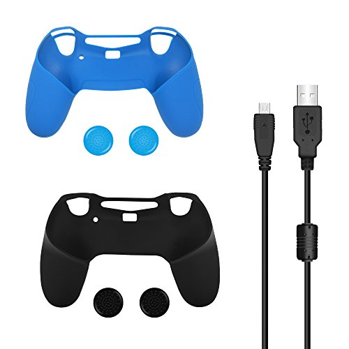Bonacell-Silicone-Skin-Covers-and-Thumbstick-Caps-Set-for-PS4-Controller-2-Skins-4-Thumpstick-Caps-1-Charging-Cable