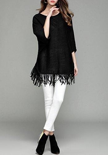 ELLAZHU Femme Autumne Col Ronde Couleur Pure Manche Chauve Souris Franges Pull YY17 Black L