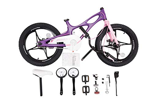 RoyalbabySpace Shuttle Lightweight Magnesium Kid's Bike with Disc Brakes for Boys and Girls, 18 inch with Kickstand, Lilac by Royalbaby (Image #4)