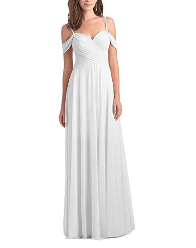 70a98b3f5320 AMXK Womens Long Chiffon Bridesmaid Dresses Off The Shoulder Ruched Evening  Prom Gowns White 24