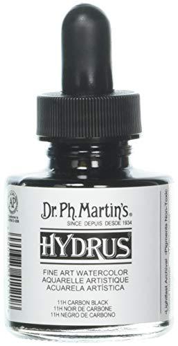 Dr. Ph. Martin's HYDR10OZS11H Hydrus Fine Art (11H) Watercolor Bottle, 1.0 oz, Carbon Black