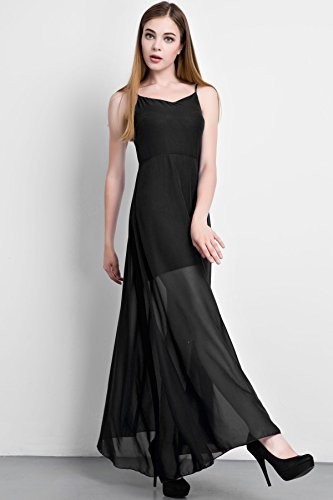 ACHICGIRL Women Eye-catching Strap Chiffon Maxi Dress Black