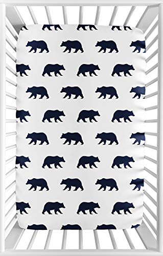 Sweet Jojo Designs Navy Blue and White Baby Boy Fitted Mini Portable Crib Sheet for Big Bear Collection - for Mini Crib or Pack and Play ONLY