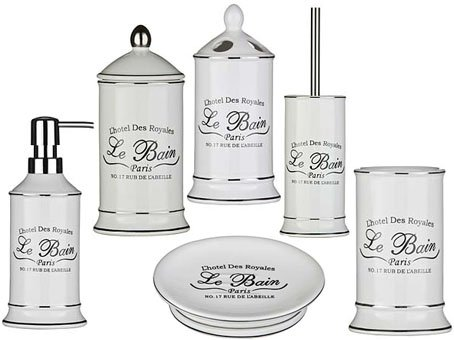 Pleasant Le Bain 6Pc Bathroom Set Ideal For Any Bathroom White Ceramic Home Interior And Landscaping Ologienasavecom