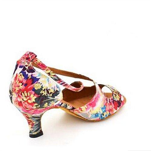 Swing Fucsia Jazz de profesional Zapatos Practice Q de Tango baile Indoor de T Salsa T Principiante Flores Performance Zapato Fucsia Zapatos satén Sandalias latinas mujer X6RyU