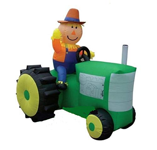 Airblown Inflatable Scarecrow Riding on a Green Tractor - Halloween Thanksgiving Yard Outdoor Decoration, 6 foot long x 6.5 foot Tall]()