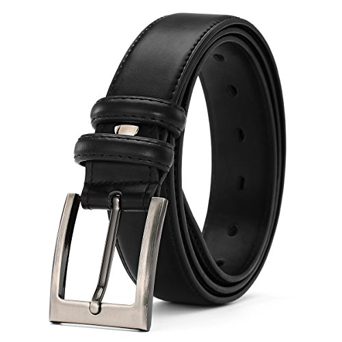 Belts for Men Genuine Leather Dress Belt with Single Prong Buckle 1 3/8