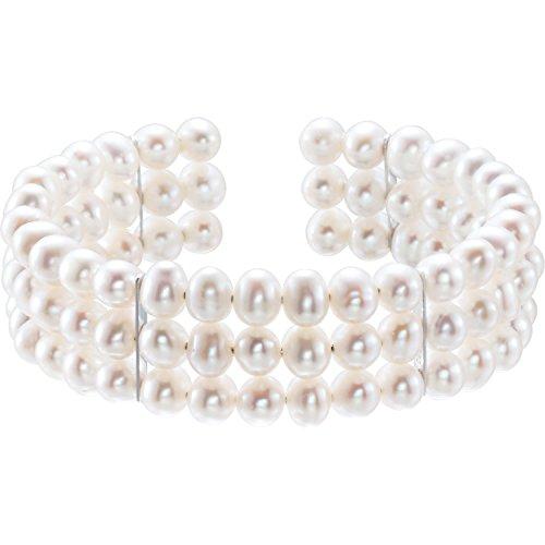 Freshwater Cultured White Pearl 925 Sterling Silver Bangle Bracelet - Tarnish Resistant Nickel Free