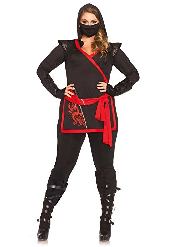 Plus Size Costumes - Leg Avenue Women's Plus-Size 4 Piece Ninja Assassin Costume, Black/Red, 3X
