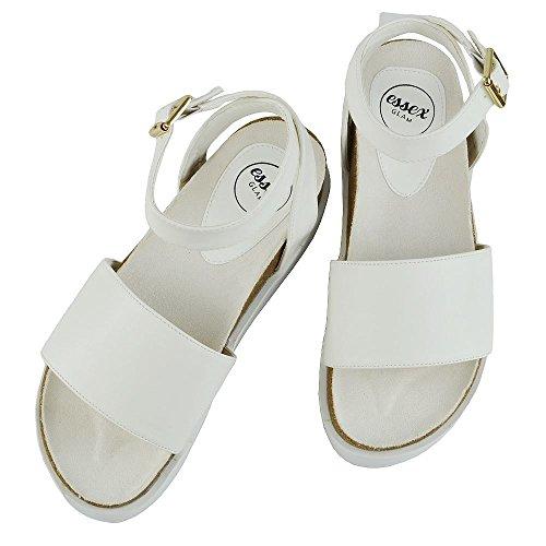 Sandalo Cuneo Sintetica ESSEX Sintetico Cinghietti a Toe Pelle Piattaforma Tacco Peep GLAM Bianco Donna zZzrqwOUv