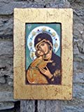 Certified Byzantine .925 Silver Wood Our Lady Vladimir Wall Icon w Gold Border