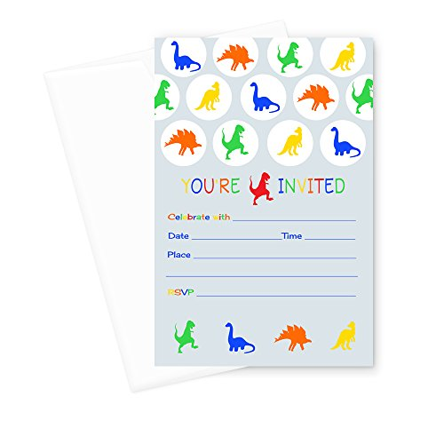 Dinosaur Birthday Party Invitations (Fill In) Set of 15 with Envelopes (Dinosaur Birthday Party Invitation)