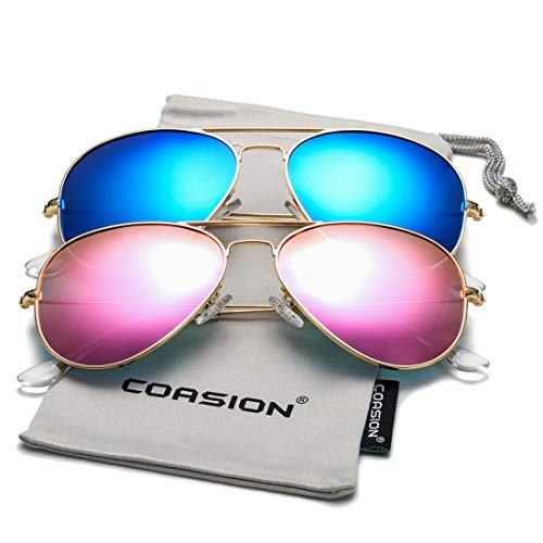 COASION Classic Polarized Aviator Sunglasses for Men Women Mirrored UV400 Protection Lens Metal Frame (Gold/Rosepink Mirror + Gold/Blue Mirror)