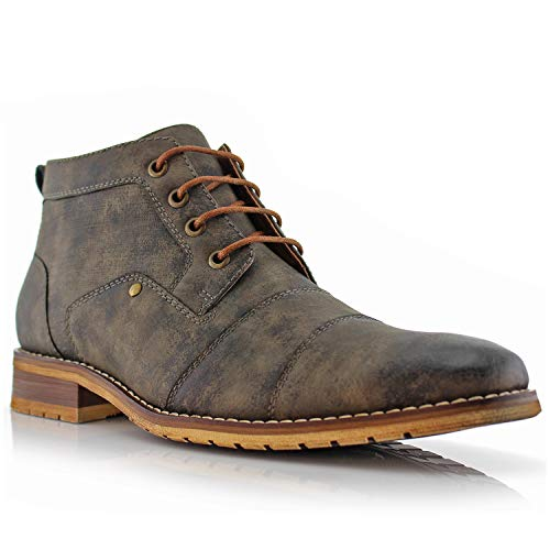 A806035 Mens Casual Brogue Mid-Top Lace-Up and Zipper Boots – Grey, Size 11 ()