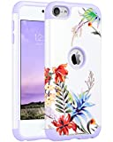 ULAK iPod Touch 6 Case, iPod 5 Case, Slim Fit Dual Layer Hybrid Soft Silicone Hard Back Cover Bumper Skin Shell Protective Shockproof Case for Apple iPod Touch 5/6th Generation, Lavender Floral