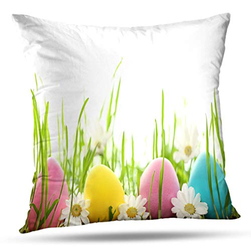 Alricc Easter Eggs with Daisy Flower Fresh Green Grass Egg Spring Decorative Throw Pillows Cushion Cover for Bedroom Sofa Living Room 16X16 Inches (Egg Green Festival)