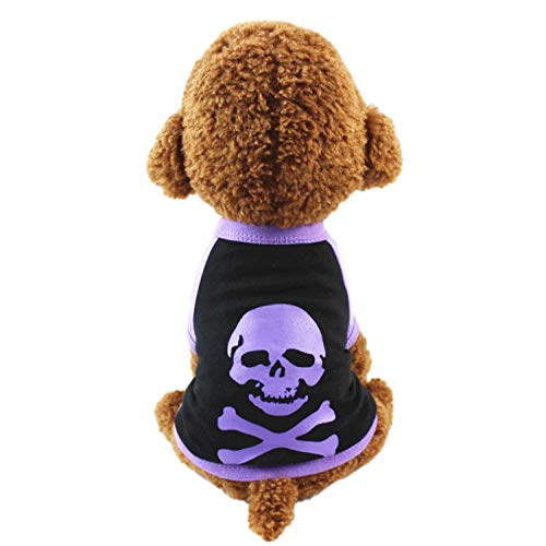 Neodot Pet Dog Halloween Clothes Dog Cotton Costume with Skeleton Design Pet Clothes for Small Medium Large -