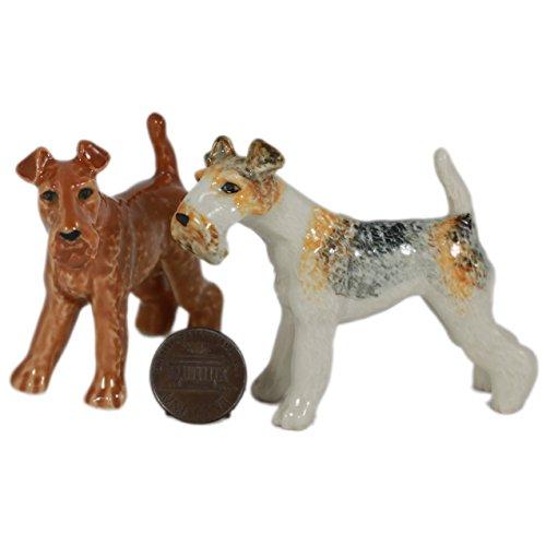 (2 FOX Terrier Dog Puppy Set Ceramic Pottery Animal Miniature Figurine Hand Painted (2
