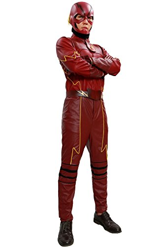 Flash Costume Deluxe Suit Superhero Cosplay Halloween Red Outfit Custom Made L (Halloween Costume Made Out Of Boxes)