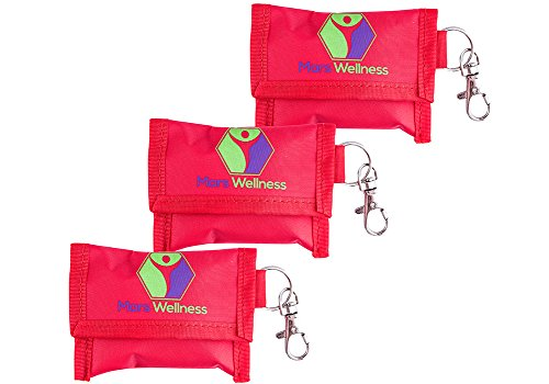 CPR Face Mask Key Chain Kit - One Way Valve and Face Shield Mask Kit with Gloves (Pack of 3)