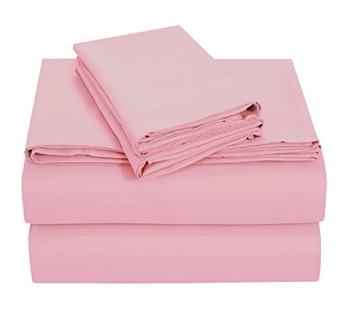 Pieridae - Double Brushed Microfiber Solid Sheet Set – Hypoallergenic - Fade and Wrinkle Resistant - 4 Pc - Pink, Cal King (Pink Sage 4 Piece Crib)