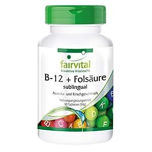 B-12 y sublingual Ácido Fólico - GRANEL durante 3 meses - VEGANO - 90 comprimidos - absorción rápida a través de la mucosa oral