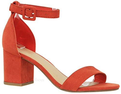 MVE Shoes Women's Single Strap Peep Toe - Open Ankle Low Heel Sandal - Chunky Heel Sandal, Cake Orange 7.5