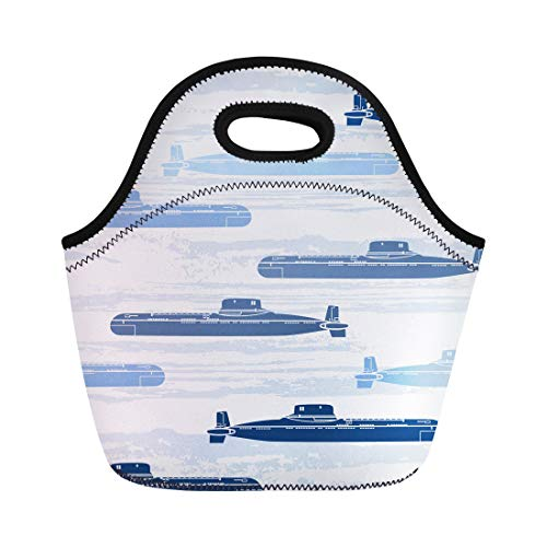 Semtomn Lunch Tote Bag Blue Ship Submarines Marine Navy Pattern Abstract Atomic Boat Reusable Neoprene Insulated Thermal Outdoor Picnic Lunchbox for Men Women ()