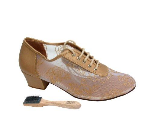 Very Fine Ladies Women Ballroom Dance Shoes EK2002 With 1.5 Heel Light Gold Leather & 79 Mesh 1cfsALoh