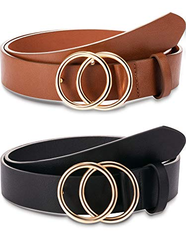 (2 Pieces WomenLeather Belt Soft Faux Leather Waist Belts Fashion Designer Belts Casual Dress Belt with Double O-Ring Buckle for Jeans Pants Dresses (M))