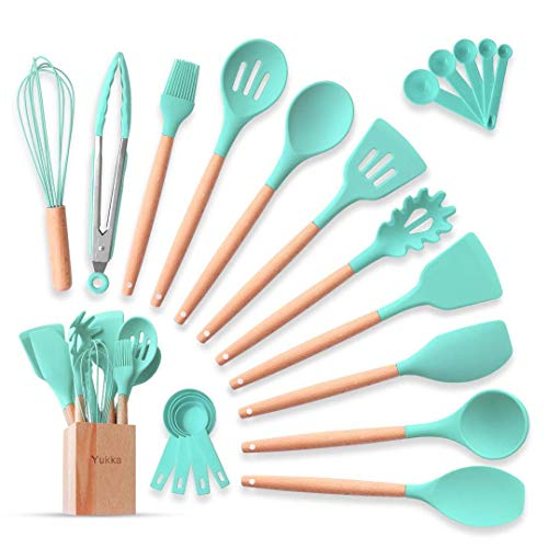 Complete Silicone Cooking Kitchen Utensils Set 22pcs Natural Bamboo Handles Non-Stick BPA-Free Non-Scratch Cookware W…