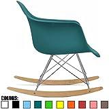 2xhome - Teal - Eames Style Molded Modern Plastic Armchair Rocker Chrome Steel Eiffel Base Wood Rockers - Rocking Style Lounge Cradle Arm Chair - Nursery Living Room - Matte Finish