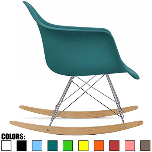 2xhome - Teal - Eames Style Molded Modern Plastic Armchair Rocker Chrome Steel Eiffel Base Wood Rockers - Rocking Style Lounge Cradle Arm Chair - Nursery Living Room - Matte Finish
