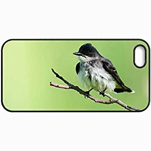 Customized Cellphone Case Back Cover For iPhone 5 5S, Protective Hardshell Case Personalized Bird Branch Background Black