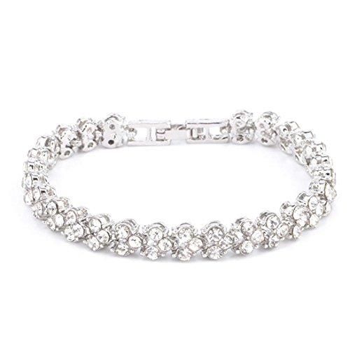 Botrong Fashion Roman Style Women Crystal Diamond Bracelets Gifts (Silver)