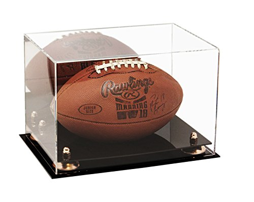 Deluxe Acrylic Football Display Case with Gold Risers and Mirror (A004-GR)