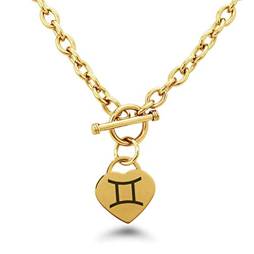 Tungsten King Stainless Steel Classic Silver Gold Rose Gold Plated Astrology Zodiac Symbol Heart Charm Toggle Closure 7.5'' Bracelet 18'' Necklace Set for Women ()