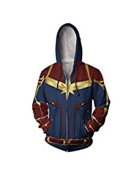 Redwind Unisex Superhero Cosplay Costume Hoodie Jacket Cardigan Zip Captain Marvel Avengers