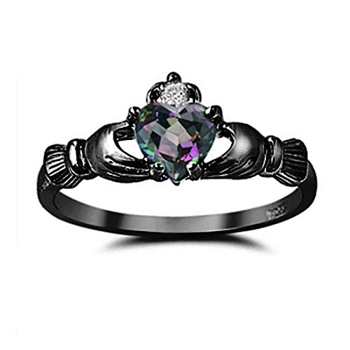 Claddagh Heart Promise Ring Rainbow Round Cubic Zirconia Black Plated 925 Sterling Silver