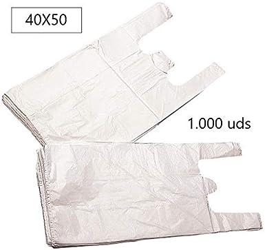 EUROXANTY® Bolsas de Plástico Tipo Camiseta   Alta resistencia   Reutilizables y Reciclables   Material Polietileno de Alta Densidad   Con Asas (Blanco, 40 x 50-1000 uds)