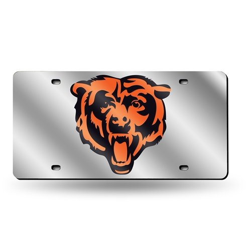 Chicago Bears Laser-Cut Acrylic Silver License Plate Tag (Bears Chicago License Plate Laser)