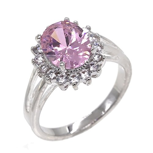 Pink Princess Cocktail Ring - Lavencious Oval Round CZ Rings Wedding Party Statement Engagement Inspired Cocktails Gold Plated For Woman Size 5-10 (Pink, 7)